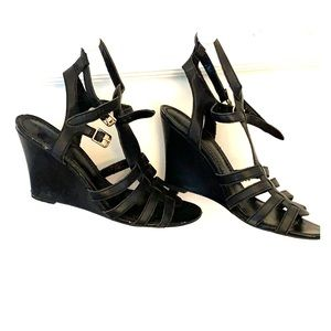 Black leather wedge sandal